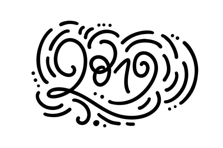 Handgeschreven motoline vector kalligrafie tekst 2019. hand getrokken Nieuwjaar en Kerstmis belettering nummer 2019. Illustratie voor wenskaart, uitnodiging, vakantie tag