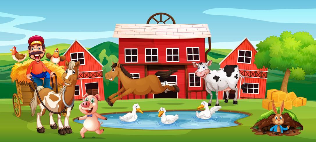 Gelukkige landbouwer op landbouwgrond vector