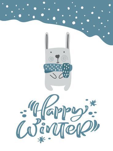 Kerst fanny haas of konijn in Scandinavische stijl met Happy Winter kalligrafie belettering tekst. Wenskaart. Vector illustratie