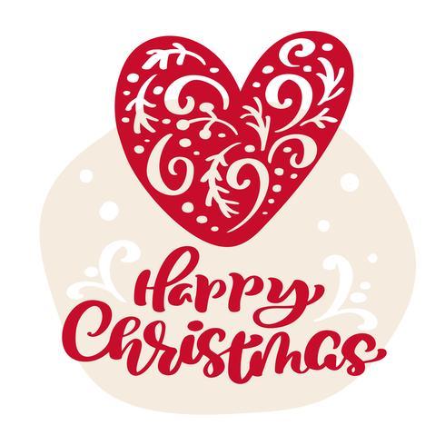 Hand getrokken Skandinavische illustratie hart. Happy Christmas kalligrafie vector belettering tekst. xmas wenskaart. Geïsoleerde objecten