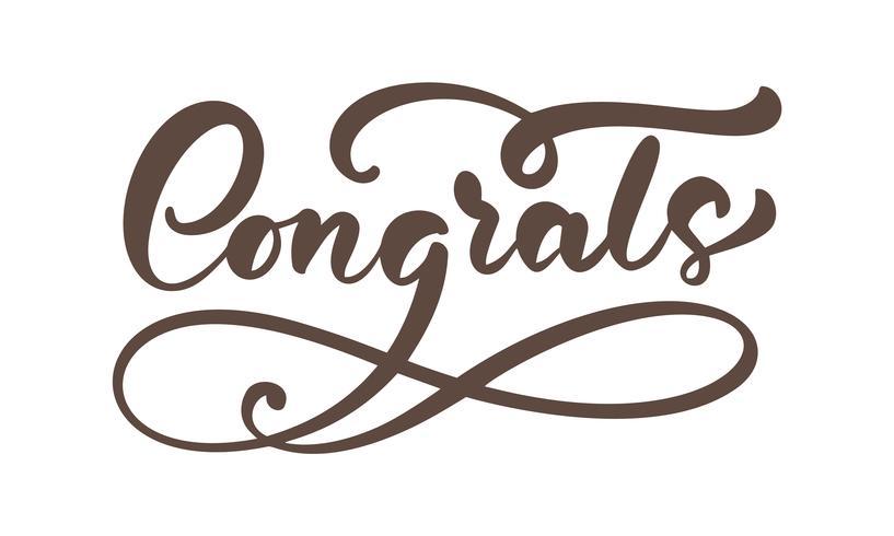 """Hand getrokken kalligrafie belettering tekst geïsoleerd """"Congrats"""" vector"""