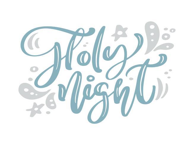 Heilige nacht blauwe Kerstmis uitstekende kalligrafie van letters voorziende vectortekst met het decor van de de wintertekening. Voor kunstontwerp, mockup-brochurestijl, banner-ideedekking, flyer voor boekjesafdrukken, poster vector