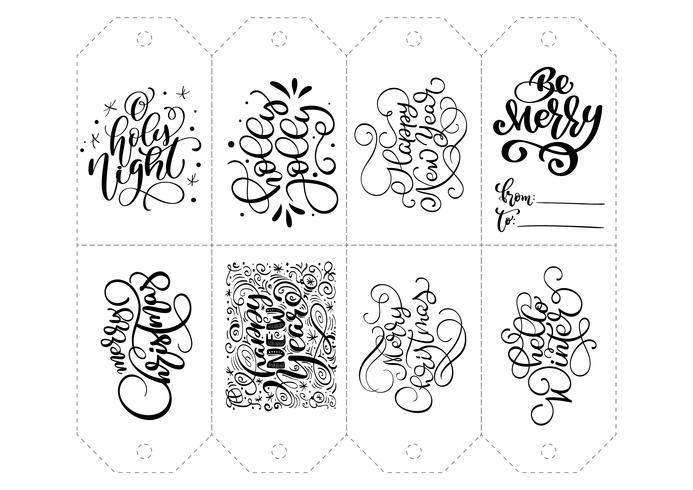 Vector kalligrafie set zinnen voor tags. Geïsoleerde Kerst Hand getrokken belettering illustratie. Hart vakantie schets doodle ontwerp kaart. decor voor print en decor
