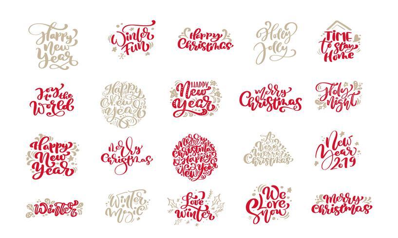 Reeks Vrolijke uitstekende kalligrafie die van Kerstmis van letters voorzien vectortekstuitdrukkingen met elementen van het de wintertekening de Skandinavische ontwerp. Voor kunstontwerp, mockup-brochure, flyer voor boekjes, poster vector