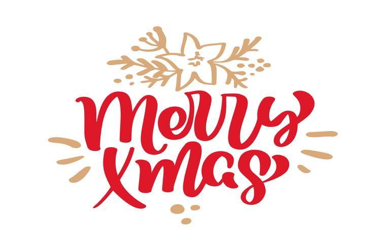 Merry Xmas Christmas vintage kalligrafie belettering vectortekst met de wintertekening Skandinavische bloeien decor. Voor kunstontwerp, mockup-brochurestijl, banner-ideedekking, flyer voor boekjesafdrukken, poster vector