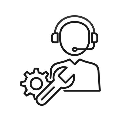 Technische ondersteuning SEO lijn pictogrammen vector