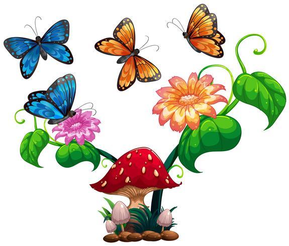 Vlinders die rond paddestoel en bloem vliegen vector