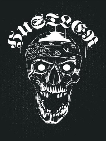 Grunge-schedel in Bandana met Hustler-typografie vector