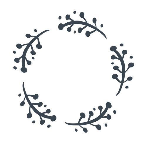 Kerst Skandinavische Hand getrokken Vector floral krans met plaats voor uw tekst. Geïsoleerd op witte achtergrond voor retro ontwerp bloei