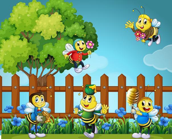 Vijf bijen in de tuin vector