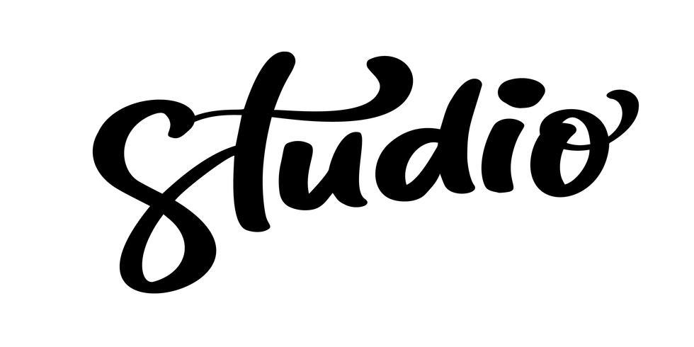 Vector hand getrokken belettering woord studio. Elegant modern handgeschreven kalligrafiecitaat op Engels. Inkt illustratie. Typografie poster op witte achtergrond. Voor kaarten, uitnodigingen, afdrukken enz