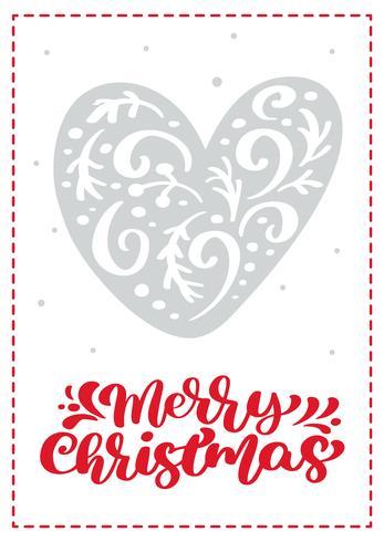 Scandinavische de groetkaart van Kerstmis met vectorhart. Merry Christmas kalligrafie belettering tekst. Hand getrokken illustratie geïsoleerde objecten vector