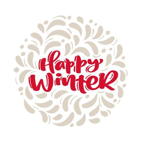 De gelukkige vectorkerstekst van de winter uitstekende kalligrafie van letters voorziende Kerstmis met de wintertekening Skandinavisch bloeit decor. Voor kunstontwerp, mockup-brochurestijl, banner-ideedekking, flyer voor boekjesafdrukken, poster vector