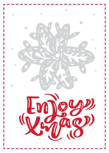 Scandinavische de groetkaart van Kerstmis met geniet van de van letters voorziende teksten van de Kerstmiskalligrafie. Hand getrokken vectorillustratie van sneeuwvlok. Geïsoleerde objecten vector