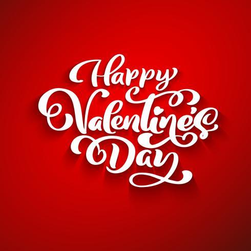 Gelukkige Valentijnsdag romantische wenskaart, typografie poster met moderne kalligrafie. Retro vintage stijl. Vector illustratie
