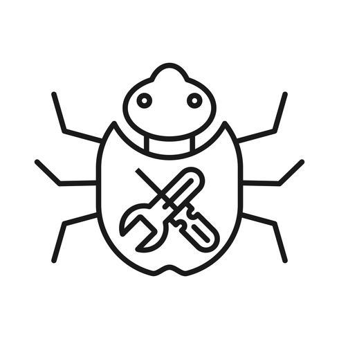 Bug vaststelling SEO lijn pictogram vector