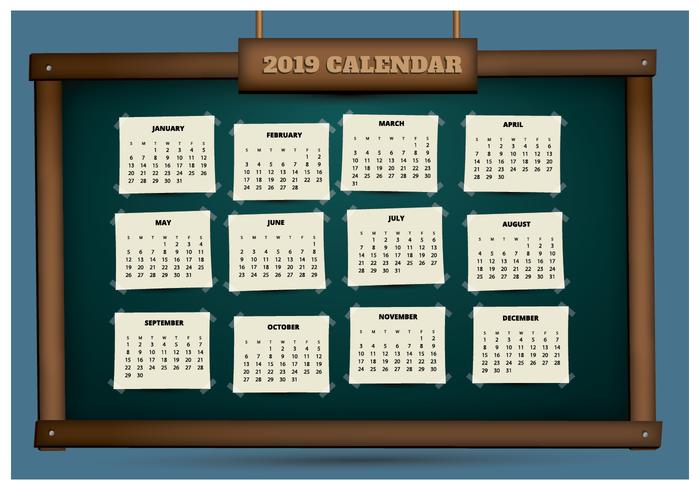 2019 Afdrukbare kalender op een schoolbord vector