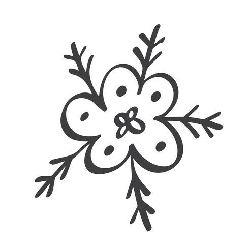 Scandinavische handdraw sneeuwvlokken ondertekenen. Winter ontwerpelement Vector illustratie. Zwart sneeuwvlokpictogram dat op witte achtergrond wordt geïsoleerd. Sneeuw vlokken silhouetten. Symbool van sneeuw, vakantie, koud weer, vorst