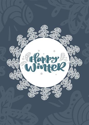 De gelukkige van letters voorziende tekst van de winter Skandinavische Kerstmis vectorkalligrafie in het ontwerp van de de groetkaart van Kerstmis. Hand getrokken illustratie met florale textuur achtergrond. Geïsoleerde objecten vector