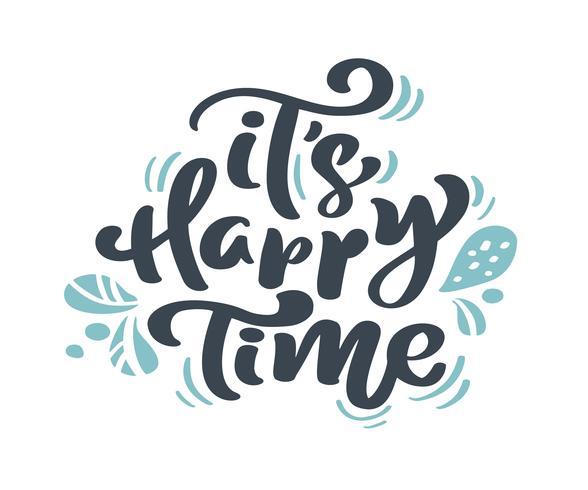 Het is Happy Time Christmas vintage kalligrafie letters vector tekst met de winter tekening Scandinavische bloeien decor. Voor kunstontwerp, mockup-brochurestijl, banner-ideedekking, flyer voor boekjesafdrukken, poster
