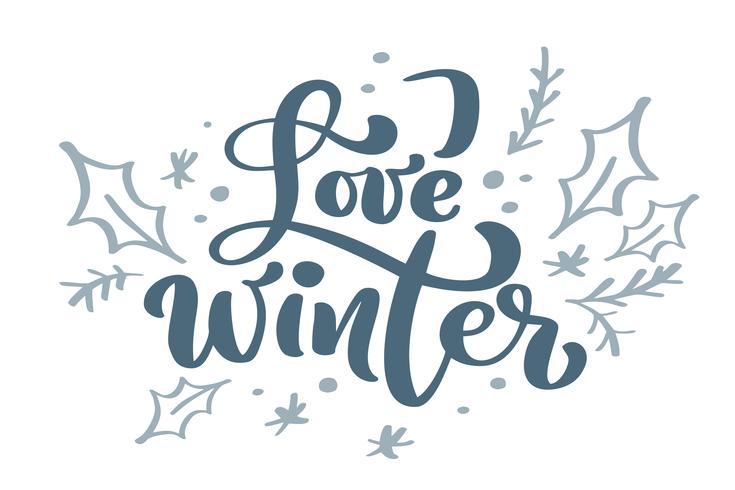Houd van de blauwe uitstekende kalligrafie van de Winter van de winter van letters voorziende vectortekst met skandinavisch decor van de de wintertekening. Voor kunstontwerp, mockup-brochurestijl, banner-ideedekking, flyer voor boekjesafdrukken, poster vector
