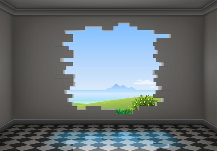 Breken in de bakstenen muur vector