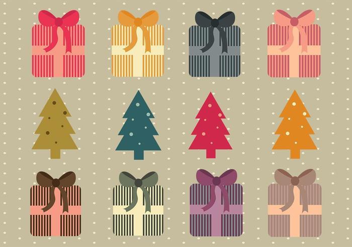 eenvoudige kerstcadeautjes en bomen vector pack