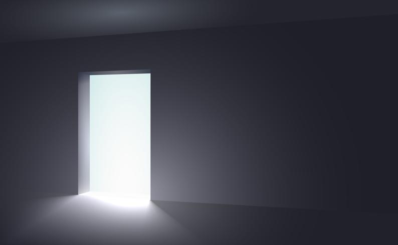 Een open ruimte waaruit licht verschijnt in een donkere kamer vector
