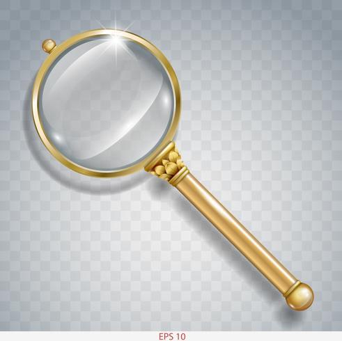 Vergrootglas voor informatiezoektocht naar goud vector