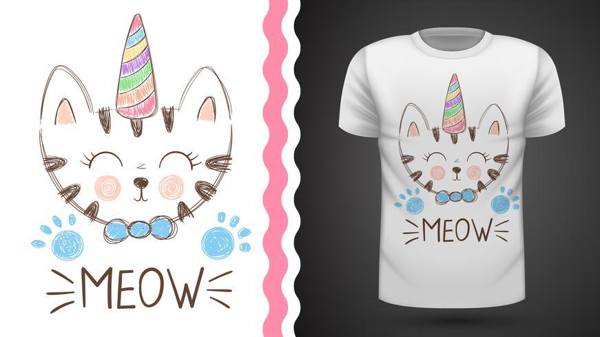 Leuke kat - idee voor print t-shirt. vector