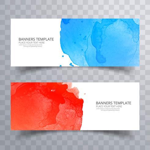 Abstract kleurrijk aquarel header ingesteld ontwerp vector