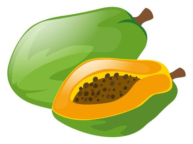 Verse papaja op witte achtergrond vector