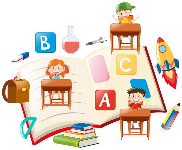 Educatief thema met kinderen en boeken vector