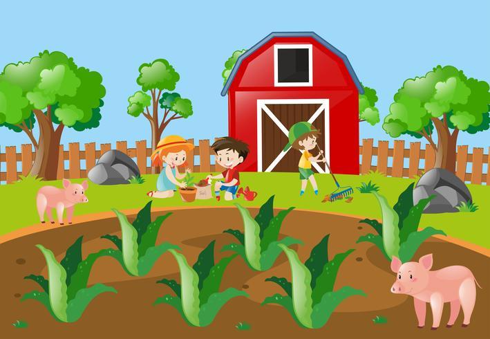 Kinderen die boom in het boerenerf planten vector