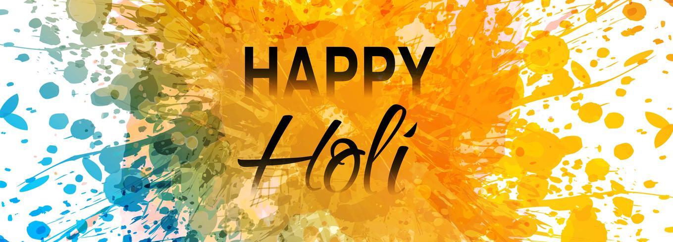 Viering kleurrijke gelukkige holi banner tamplate vector