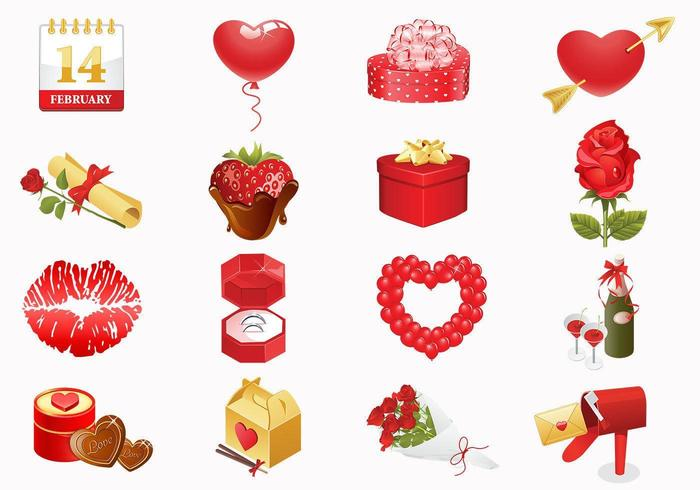 Valentijnsdag iconen Vector Pack