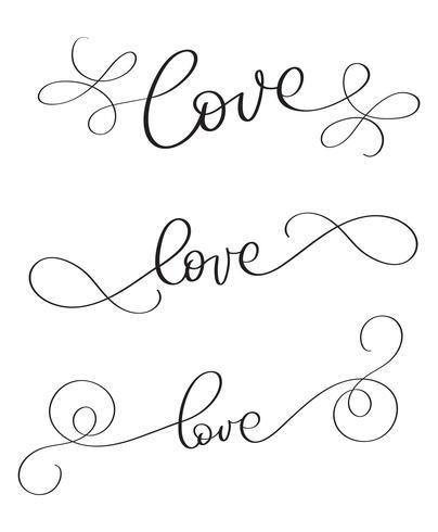 Set van handgemaakte vector vintage woord liefde op witte achtergrond. Kalligrafie belettering illustratie EPS10