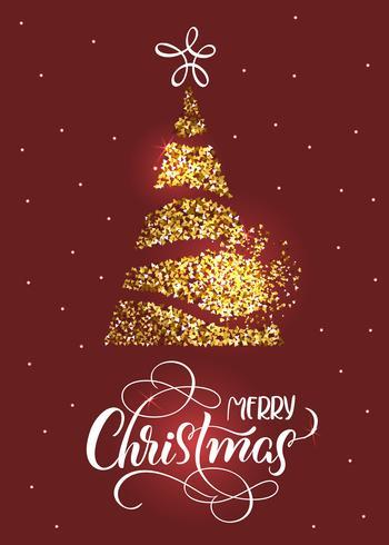 Vrolijke Kerstmistekst op rode vakantieachtergrond met stilized spar en sterren vector