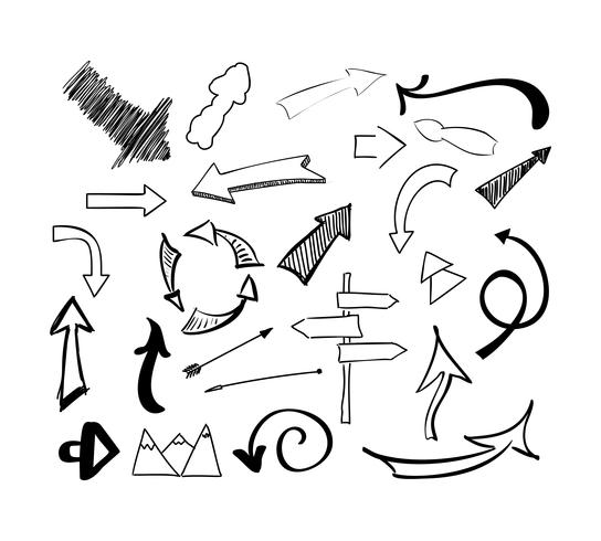Hand getrokken schets pijlen vector set pijlen. Geïsoleerde illustratie op witte achtergrond.