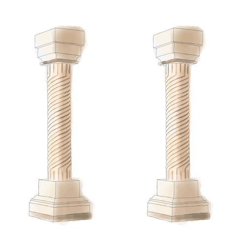 Gestileerde Griekse de kolom Dorische Ionische Corinthische kolommen van de krabbelpijler. Vector illustratie. Klassieke architectuur