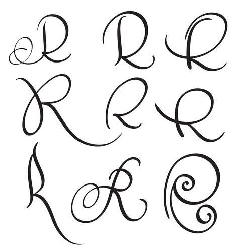 set van kunst kalligrafie letter R met bloeien van vintage decoratieve slierten. Vector illustratie EPS10
