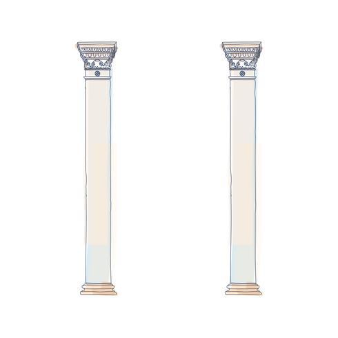 Gestileerde Griekse kolom van de krabbel Dorische Ionische Korinthische kolommen. Vector illustratie. Klassieke architectonische ondersteuning