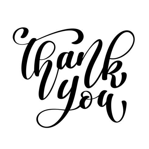 Dank u handgeschreven inscriptie. Hand getrokken belettering. Bedankt kalligrafie. Bedankt kaart. Vector illustratie