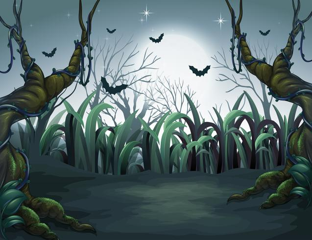 enge donkere nacht in het bos vector