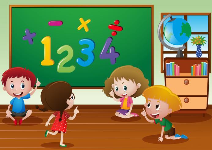 Kinderen leren in de klas vector