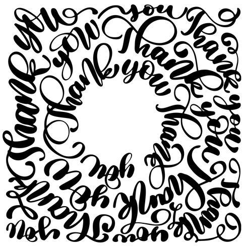 Dank u moderne handgeschreven inscriptie in een cirkel. Hand getrokken belettering. Bedankt kalligrafie. Bedankt kaart. Vector illustratie