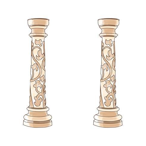Gestileerde Griekse kolom van de krabbel Dorische Ionische Korinthische kolommen. Vector illustratie. Klassieke architectuur
