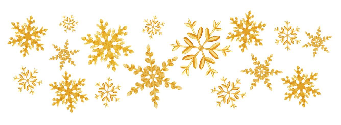 Splash van Kerstmis de gouden sneeuwvlokken van een willekeurige verspreidingssneeuwvlokken die op wit worden geïsoleerd. Sneeuw explosie. Ijs storm vector