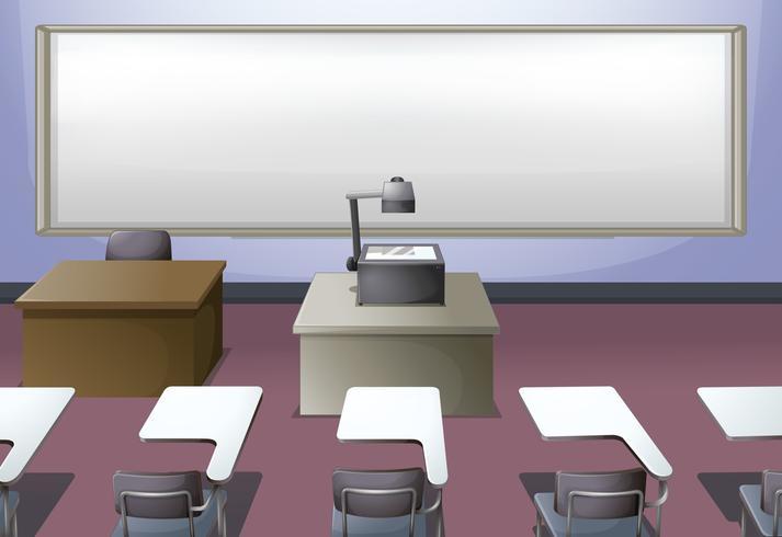 Klaslokaal met projector en bureaus vector