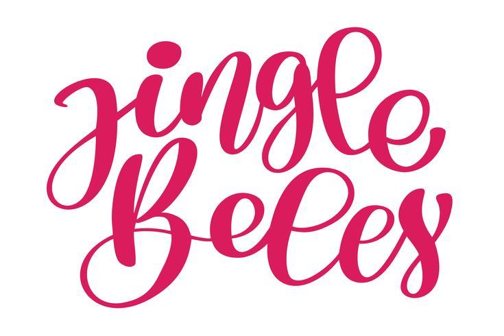Jingle Bells kalligrafische inscriptie Merry Christmas card met. Sjabloon voor groeten, gefeliciteerd, Housewarming posters, uitnodigingen, foto overlays. Vector illustratie
